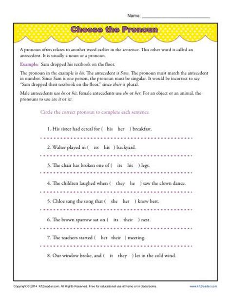 Pronouns And Their Antecedents Worksheet by Pronoun Antecedent Worksheet Lesupercoin Printables