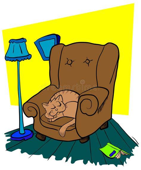 su una sedia gatto dorme su una sedia illustrazione vettoriale