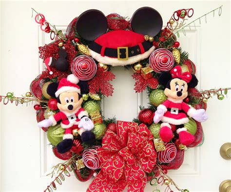 mickey mouse christmas wreath by sparkleforyourcastle on etsy