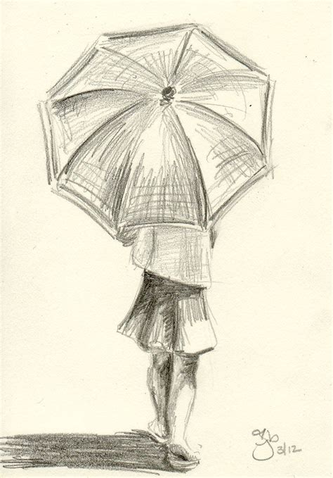 6 Drawing Pencil by With Umbrella 4x6 Pencil Study By Jamiepbruno On Etsy