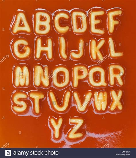 alphabet spaghetti letters in alphabetical order stock