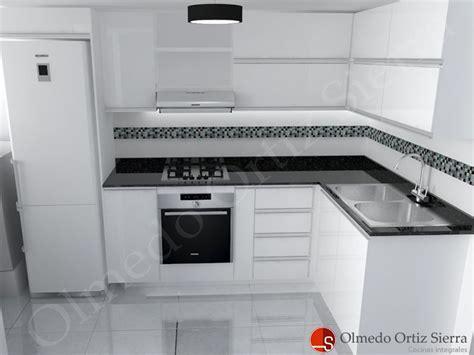 diseno de cocina blanca en   meson negro cocinas