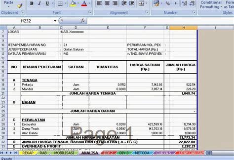 Satuan Pekerjaan Pembersihan Lahan contoh rencana anggaran biaya pekerjaan jalan