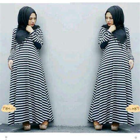 Setelan Pashmina Baju Wanita Muslim Monika Stripe Set 3in1 4 busana muslim dress belang cantik murah