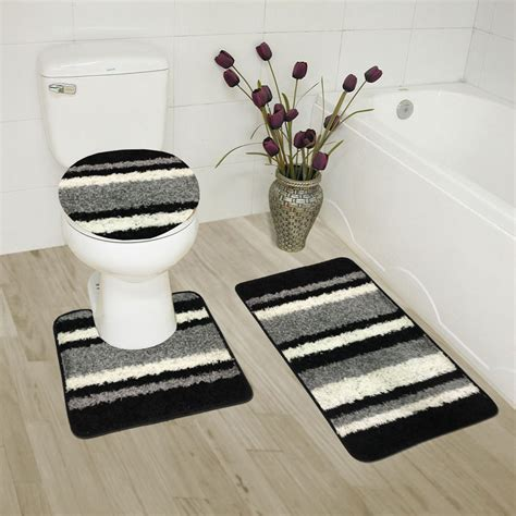 Black Bathroom Rug Set by Abby 3 Bathroom Rug Set Bath Rug Contour Rug Lid Cover Stripe Black Ebay