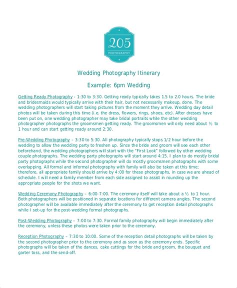 7 Wedding Itinerary Template Free Sle Exle Format Free Premium Templates Wedding Photography Itinerary Template