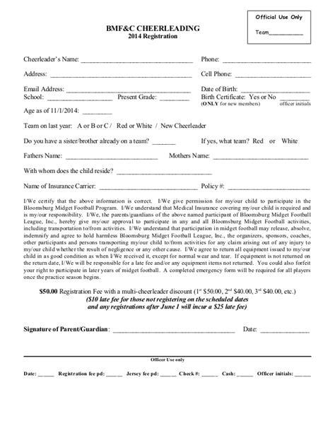 cheerleading registration form 2014
