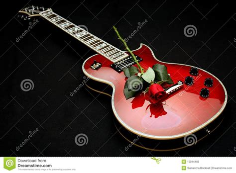 rose theme guitar electric guitar with rose stock image image of knobs
