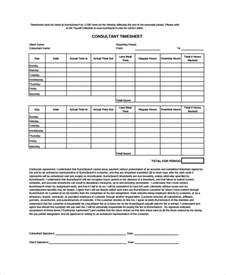 sample consultant timesheet template 9 free documents