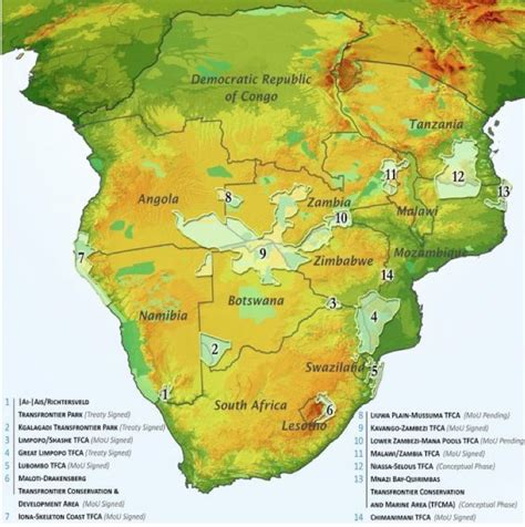 africa map features international boundaries peace parks and elephants in