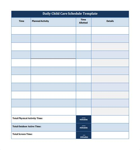 child care daily routine template sle printable daily schedule template 23 free