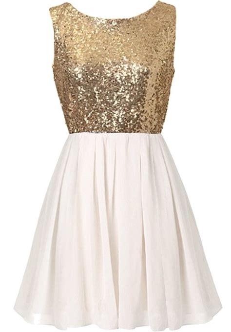 Swanky Soirée Dress   White Gold Sequin Chiffon Party Dresses   RicketyRack.com