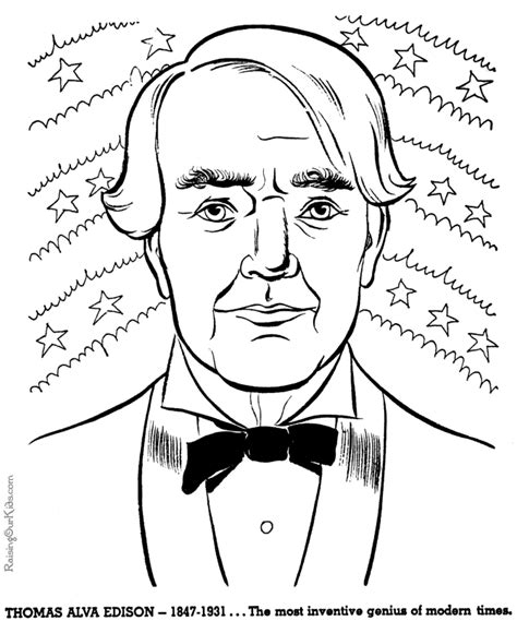 thomas edison history coloring pages for kids 067