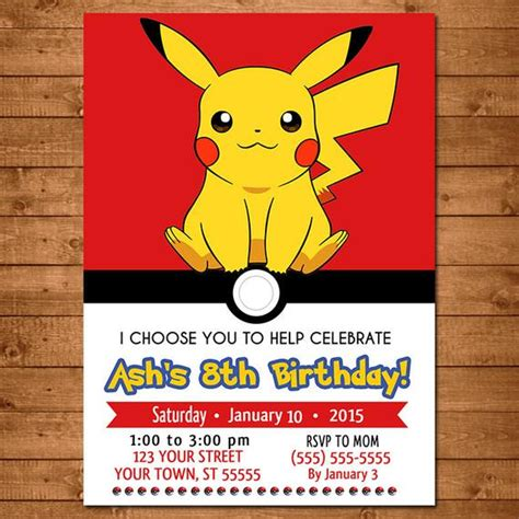 pikachu birthday card template birthday printable invitations page two