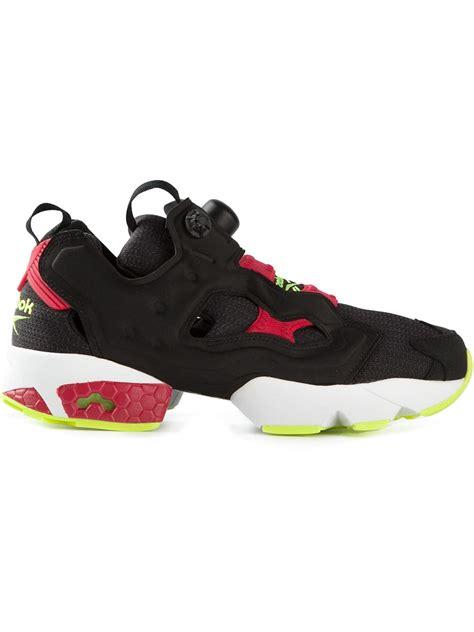 reebok black sneakers reebok instapump fury sneakers in black for lyst