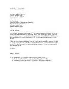 Resignation Letter Cc by Resignation Letter To School District Cover Letter Templates