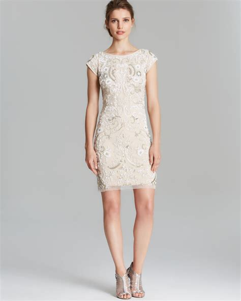 white beaded cocktail dress aidan mattox dress cap sleeve scoop back beaded in white