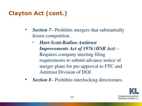 section 7 clayton act www klng com
