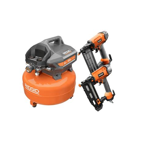 ridgid 6 gal pancake air compressor combo kit 2 tool r602ckn the home depot