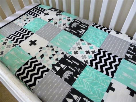 Patchwork Cot Bedding - patchwork cot crib quilt made in australia black white and