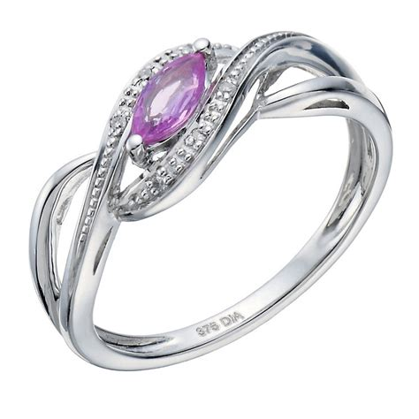 9ct white gold pink sapphire ring ernest jones