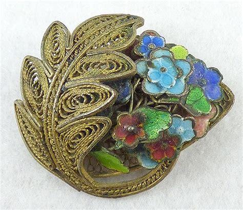 chinese export filigree enameled flowers brooch garden
