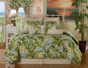 Comforter Sets Tropical St Croix Beige Green Yellow Blue Floral Tropical Bedding