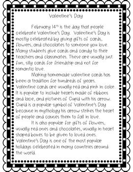 Valentine's Day Reading Comprehension Passage by