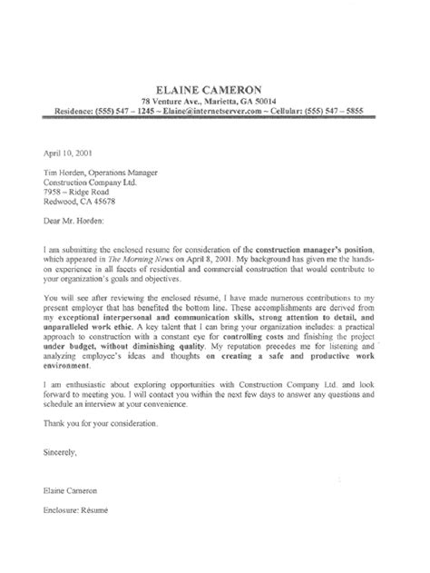 Evaluation Letter For Manager This Construction Manager Cover Letter Sle Does A Great Of Complementing The Construction