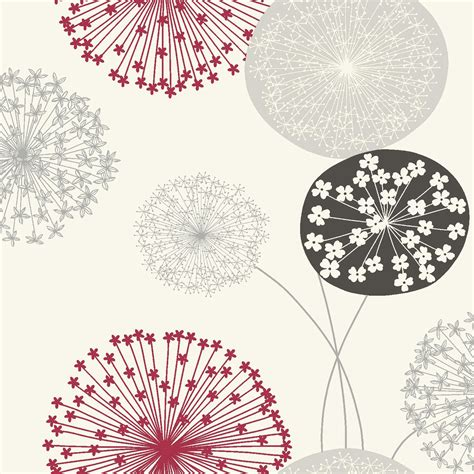 bq lucienne grey red floral wallpaper departments