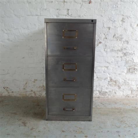 vintage polished steel 3 drawer filing cabinet with brass