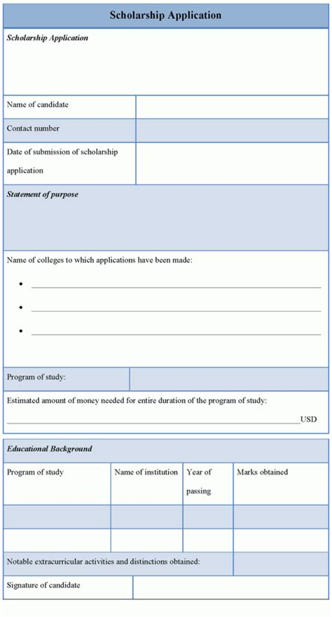 application template for scholarship template of scholarship application sle templates