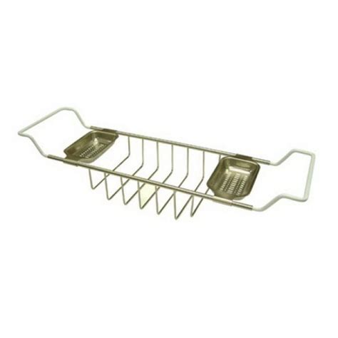 clawfoot bathtub caddy kingston brass claw foot bathtub caddy in satin nickel hcc2158 the home depot