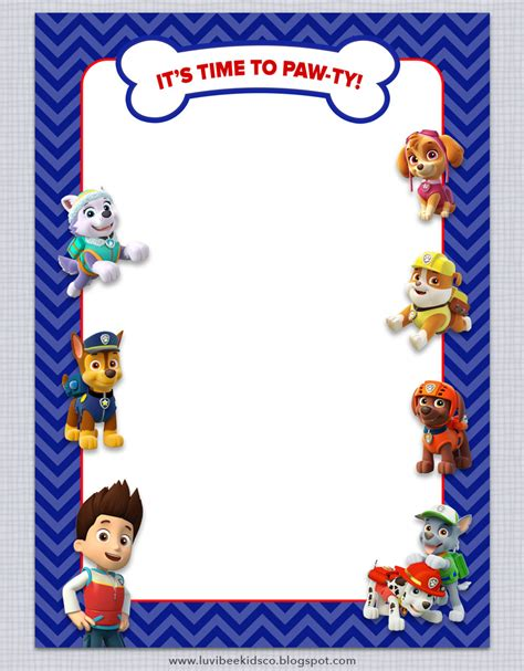 paw patrol birthday card template free paw patrol birthday invitations free printables