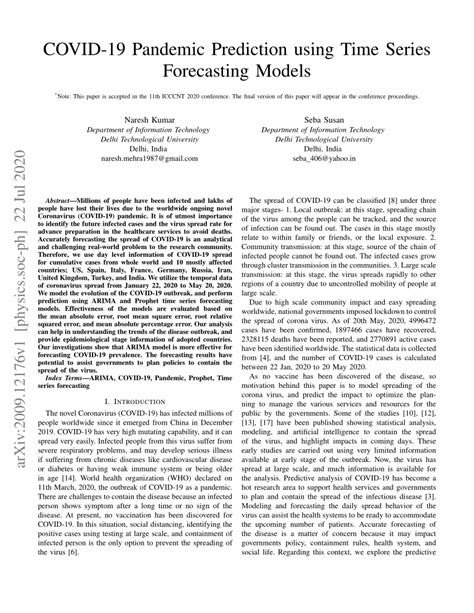 (PDF) COVID-19 Pandemic Prediction using Time Series