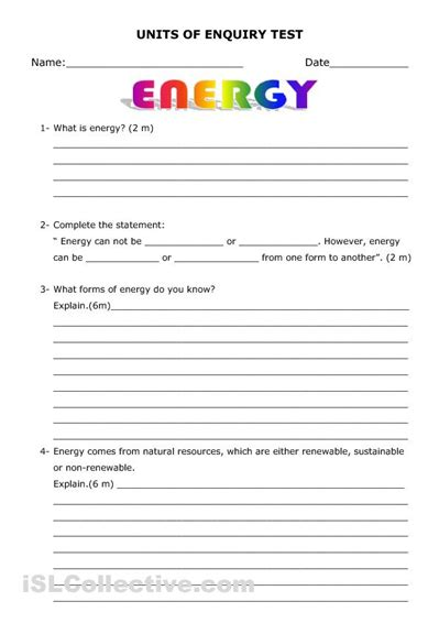 Energy And Its Forms Worksheet by 7 Best Images Of Types Of Energy Printable Worksheets
