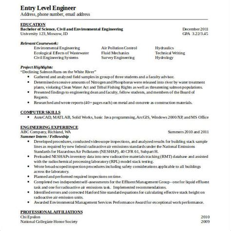 28 entry level engineer resume civil engineer resume sle