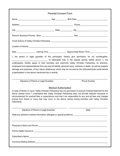 parental consent form template commonpence co
