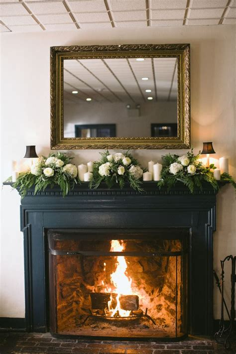fireplace decorating white and green mantel garland flower fireplace mantels