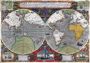Wall Murals Maps World 1595 Wall Map Mural By Iudocus Hondius