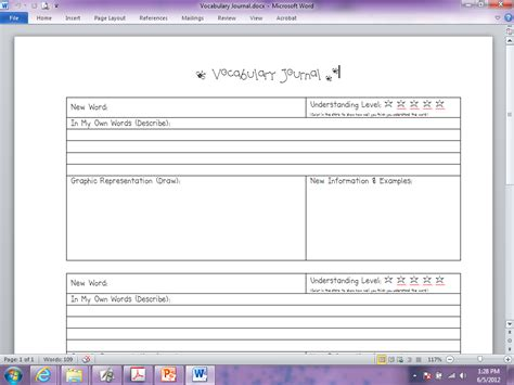 vocabulary journal template for the of all students language arts vocabulary