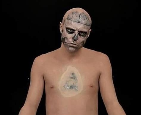 zombie boy tattoo boy hides skeleton with flesh colored make up
