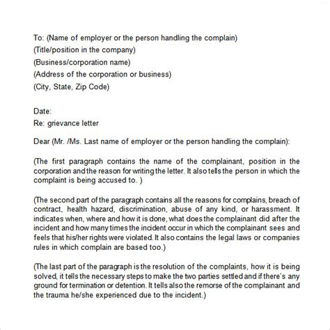 sample grievance letter templates ms word