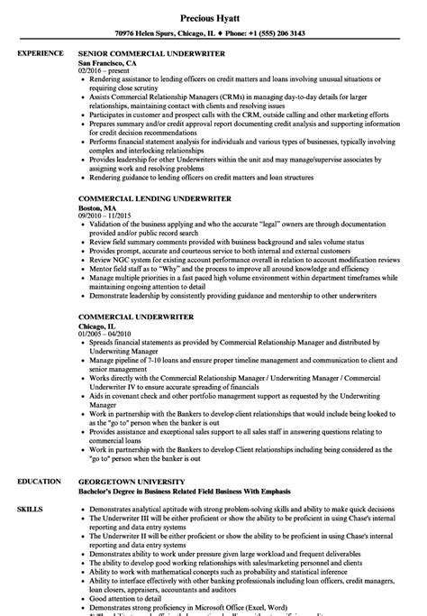 commercial insurance underwriter resume exles commercial underwriter resume sles velvet