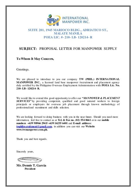 Introduction Letter Of Manpower Company Letter For Manpower Request Tw Phil