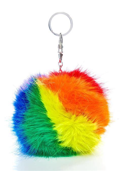 Rainbow Pompom rainbow pom keychain dolls kill