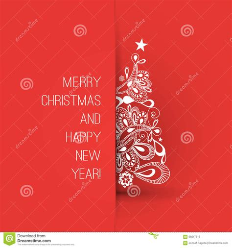 Merry Christmas And Happy New Year Greeting Card Creative Design Template Stock Vector Image Merry Card Template