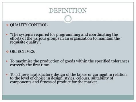 controlling definition quality control