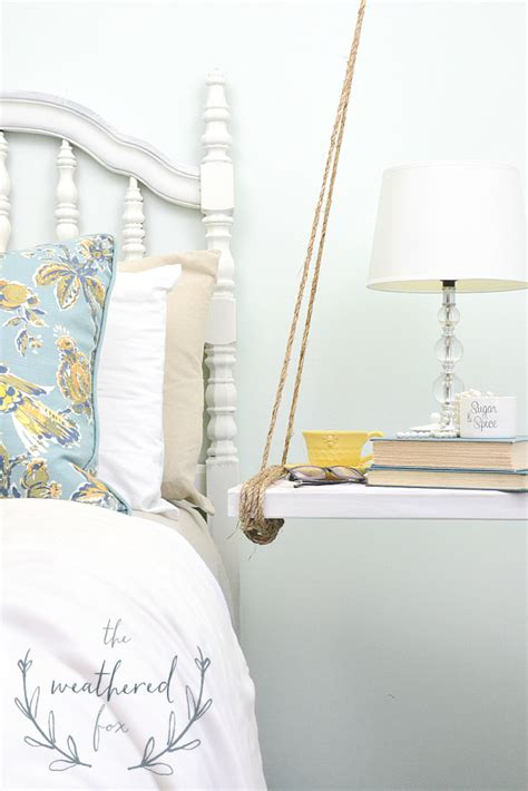Diy Hanging Ls For Bedroom by Hanging Nightstand Diy The Weathered Fox