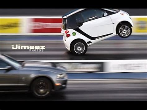 "wheelstanding ""blown"" smart car outruns mustangs!! • girls"